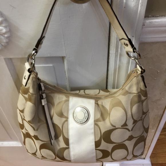 Coach Handbags - Coach Signature Canvas Shoulder Hobo Handbag